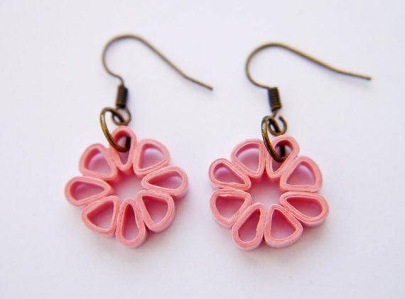 Pink Square Flower Paper Quilled Earrings