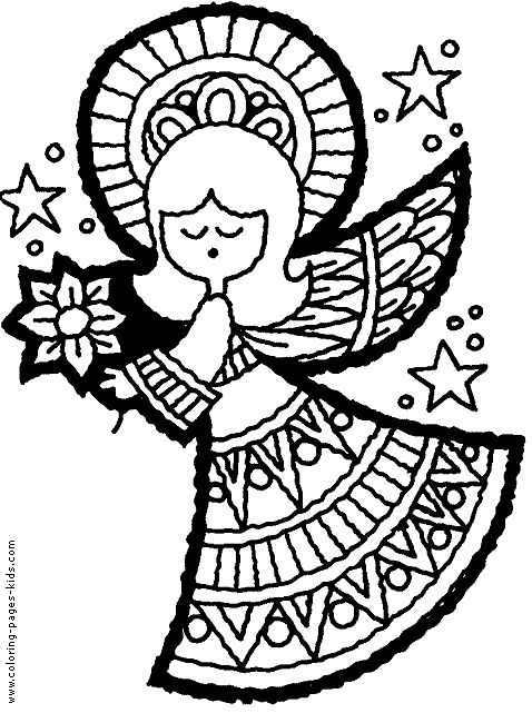 Christmas Angel Color Page Holiday Coloring Pages Plate Sheetprintable