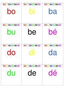 Aperçu du jeu des familles de syllabes simples