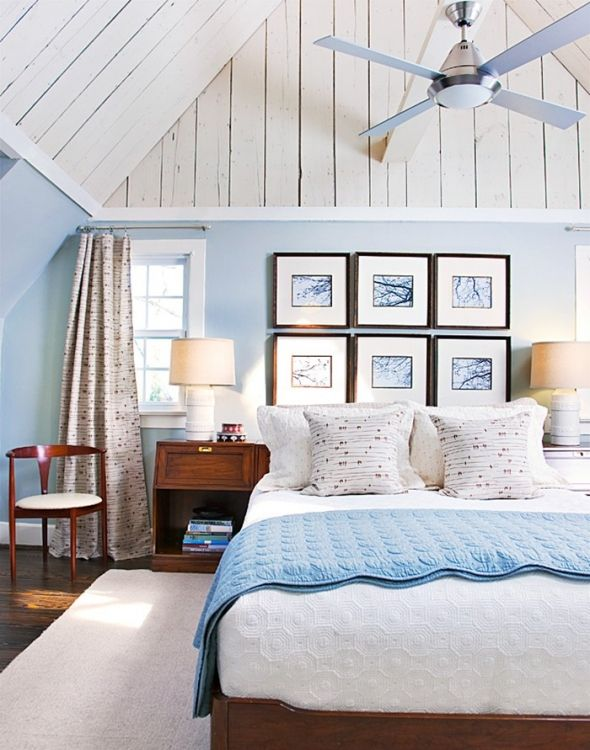 Pretty Light Blue Bedrooms, could see in a beach cottage.