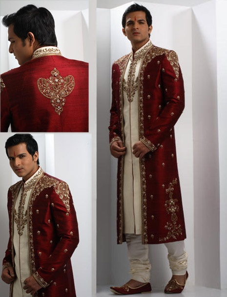 For Dave :)    Vivid Maroon Raw Silk Sherwani Online Shopping: MCD222