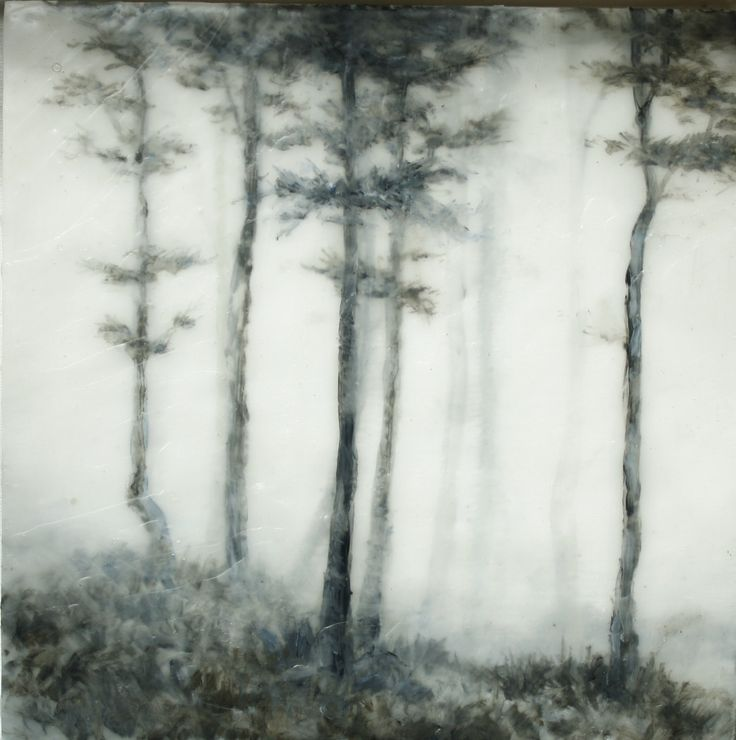 Foggy Morning - Blair Lambert - does landscape painting in oils encased in layers of encaustic wax.  Created by painting with oils between layers of wax the works have a deep sense depth and detail.