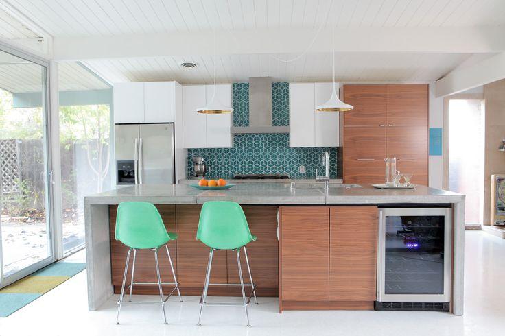 Eichler Kitchen Remodel via http://www.destinationeichler.com   Modernica Fiberglass Side Shells on H base Counter Stools
