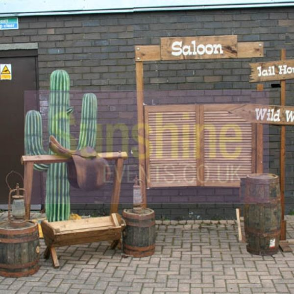 Wild West Props - http://www.sunshineevents.co.uk  Tin can alley Cactus Toss Cork Shoot Stall Western Back Drop Cowboy Prop & Saddle  Western wooden fence panel Saddle & Horse Hitching Bar Cactus Props Saloon Doors Trough Western Sign Posts Large Barrels Western Flag