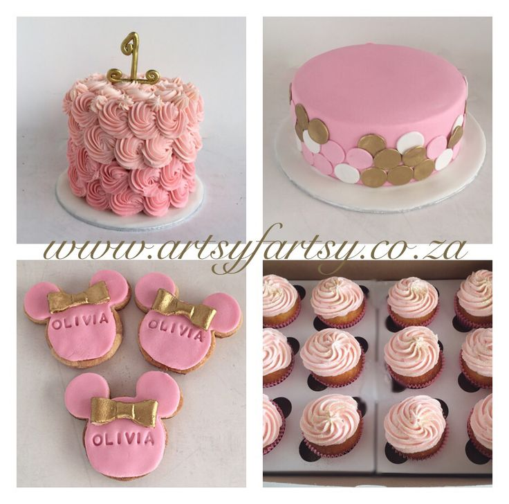 1st Birthday Cake, Smash Cake, Minnie Cookies and Cupcakes #1stbirthday