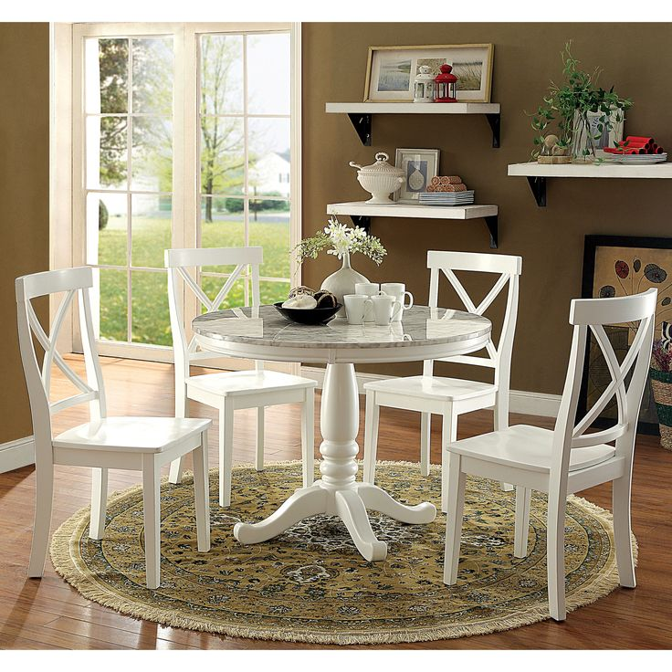 Furniture of America Laine 5-piece Country Style White Round Dining Set (White), Size 5-Piece Sets