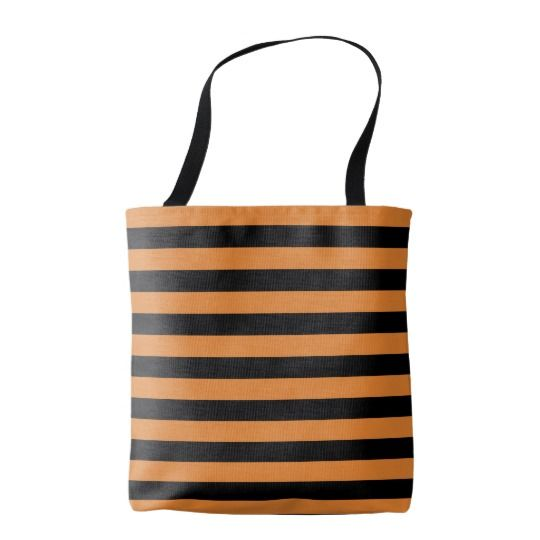 Thic bee stripes pattern, black & orange lines tote bag