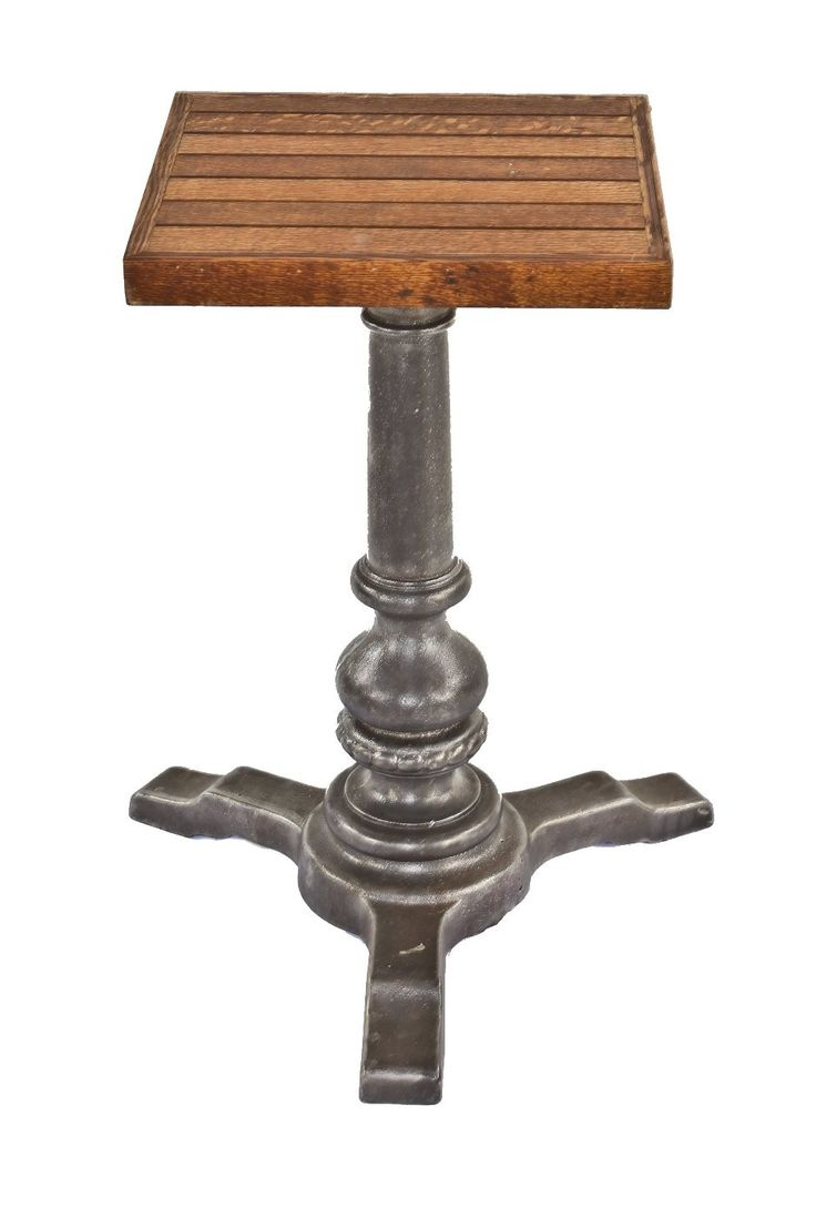 With massive wood top and iron cast base - Late Century Refinished American Ornamental Cast Iron Pub Or Saloon Table Plant Stand With New Added Tongue Groove Oak Wood Top American Saloon Fixture