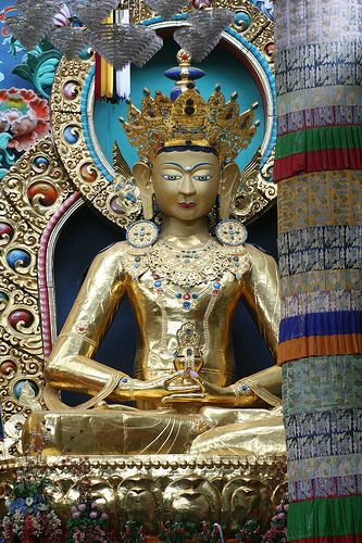 Gold Buddha, Coorg. India.