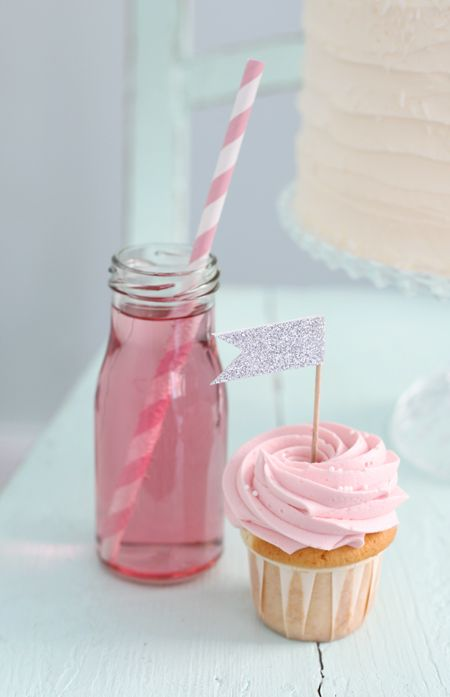 Pink drink and cupcake with flag. romantic                              …