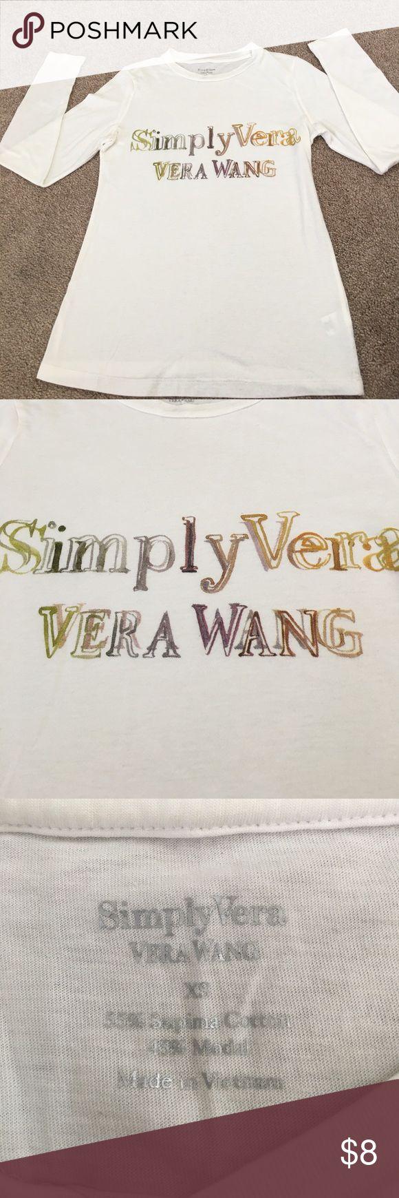 Simply Vera Wang Tee Long Sleeve Simply Vera Wang Tee; size XS; great condition, great stretch; 100% Soft Cotton; smoke & pet free environment Simply Vera Vera Wang Tops Tees - Long Sleeve