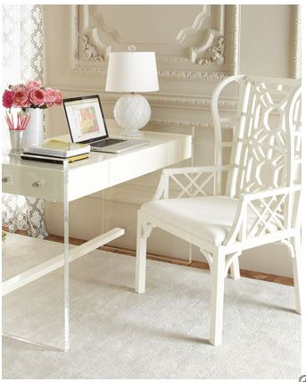beautiful office space for the condo. Find one of those old bamboo chairs and paint it!