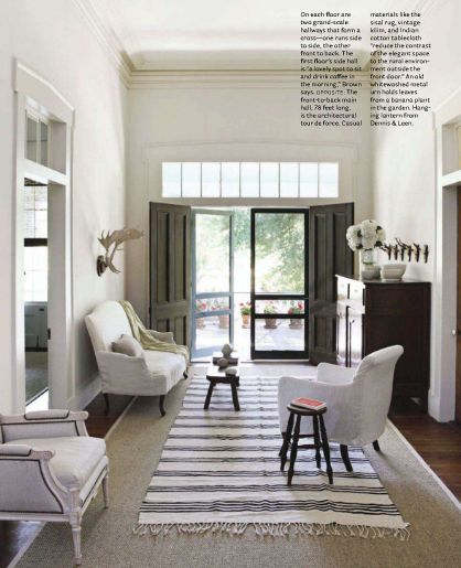 Wide back hall with transom & French doors from interior designer, Betsy Brown.