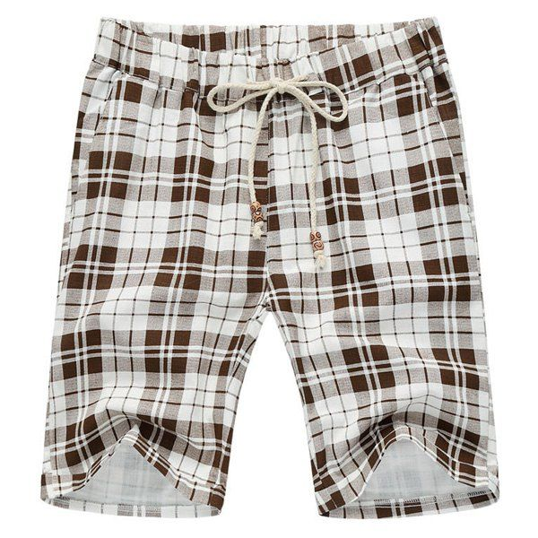 Loose Plaid Lace Up Fifth Pants Beach Shorts For Men #jewelry, #women, #men, #hats, #watches, #belts