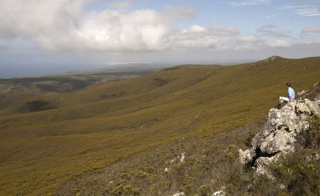 The Whale Trail (South Africa)starts in the Potberg mountains of the De Hoop Nature Reserve (shown), then winds east down the verdant green hillsides toward the water. All along the way, trekkers gaze down on the turquoise rock pools and craggy cliff formations that make up this stretch of Indian Ocean coast. (From: Photos: Beautiful Paths of the World)