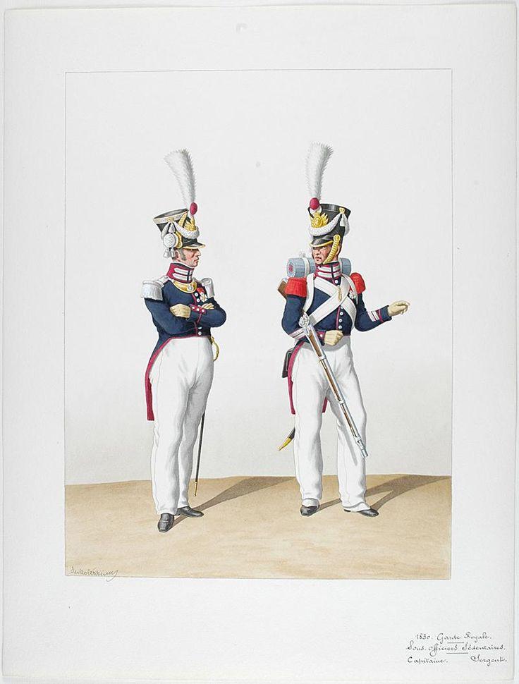 French; Garde Royale. Compagnie de Sous-Officier Sédentaires. Captain & Sergeant, 1830 by Auguste de Moltzheim