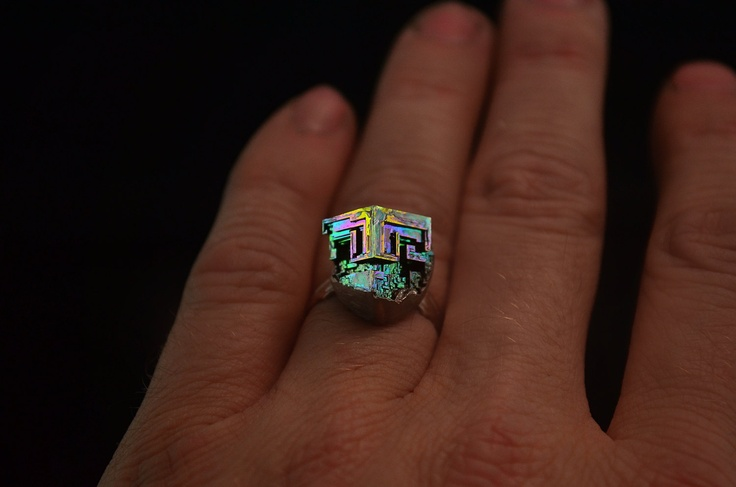 """Irish Nugget, Iridescent Bismuth Metal Crystal Ring"" -- Item has sold, but there are similar ones at the click-through."