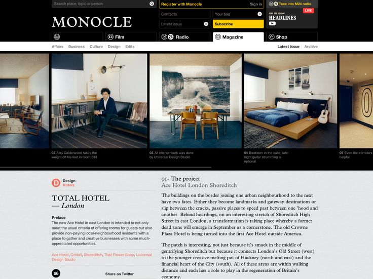 Monocle. Beautiful font stack and clean layout
