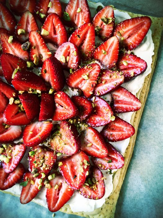 Strawberry Pistachio Cream Tart from Savory Sweet Life.
