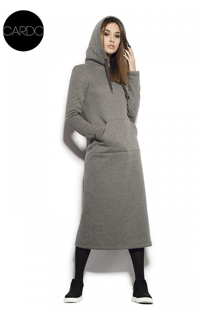 Спортивное платье с капюшоном из теплого трикотажа Трехнитка (Ca_660)