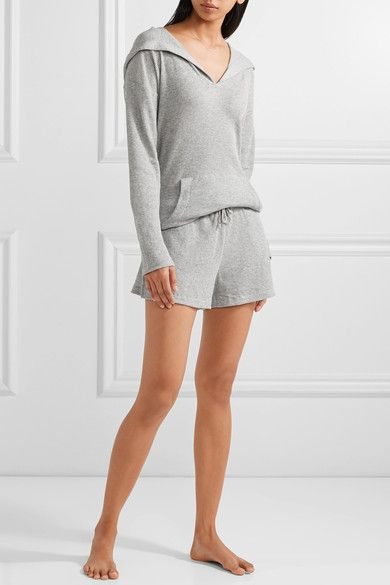 Skin - Waffle-knit Cotton Hooded Top - Gray - 1