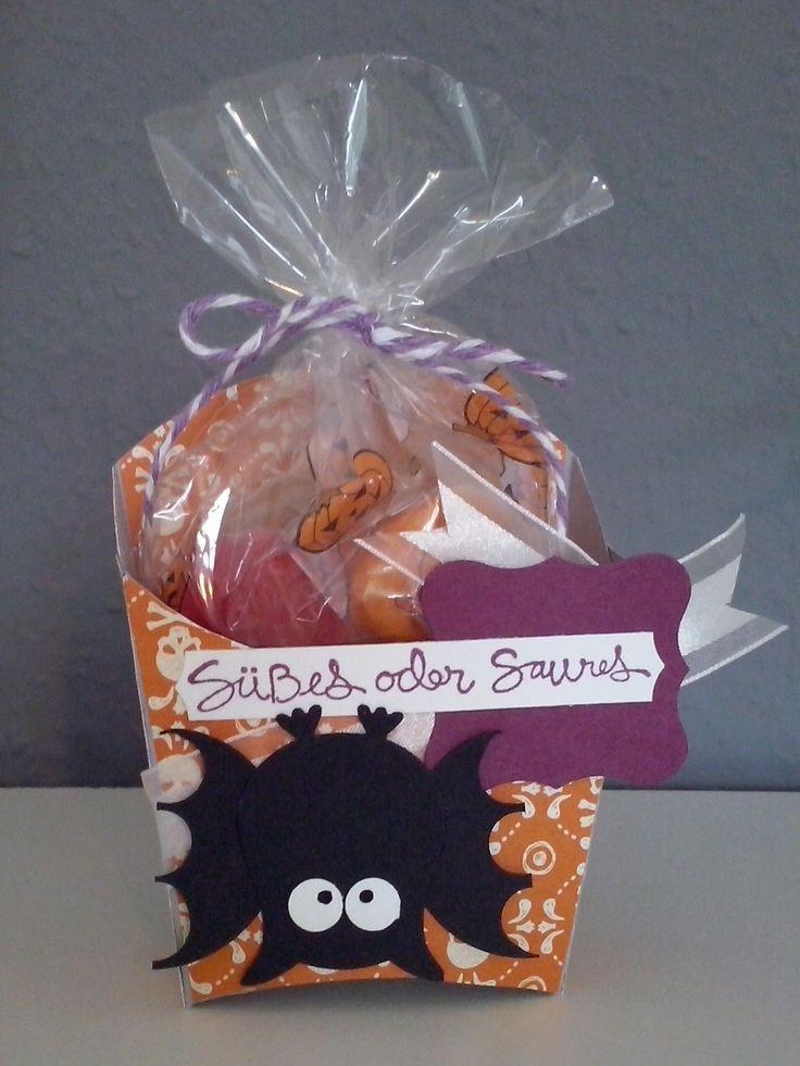 stampin up Halloween Fry Box Bigz L Die with owl Punch BAT Bigz Pommes Box mit Eulenstanze-Fledermaus