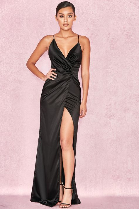 Clothing : Max Dresses : 'Fairuz' Black Draped Satin Maxi Gown. House of CB