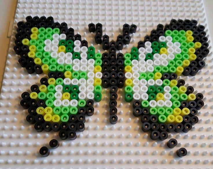 Gör din egen fjäril! #pitestreetartpattern #pitestreetart #diy #fusebeads #pärlplatta #hamabeads #hama #creative