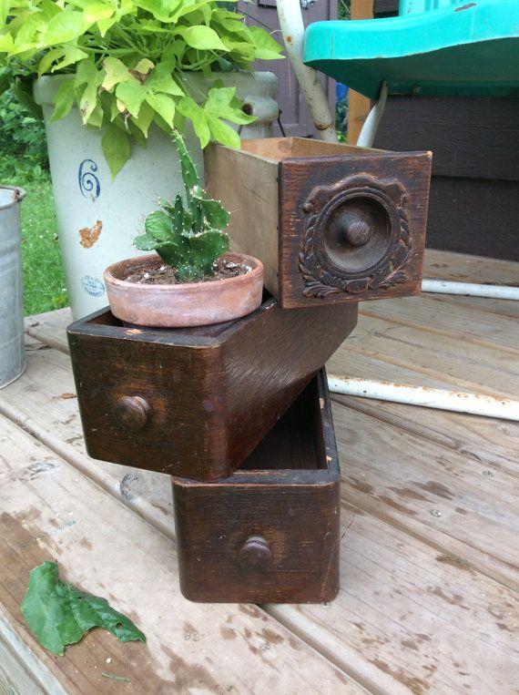 Máquina de coser Vintage madera cajones / / Vintage madera planta almacenamiento / madera Vintage costura cajones estantes
