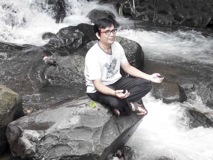 Pray enywhere for better world Sitting on the stone at Puncak, West Java several weeks ago.