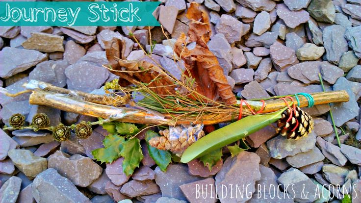 Making a Journey Stick is a fun nature activity for kids. Outdoor Play Party. Guest post by Building Blocks and Acorns for Rain or Shine Mamma.