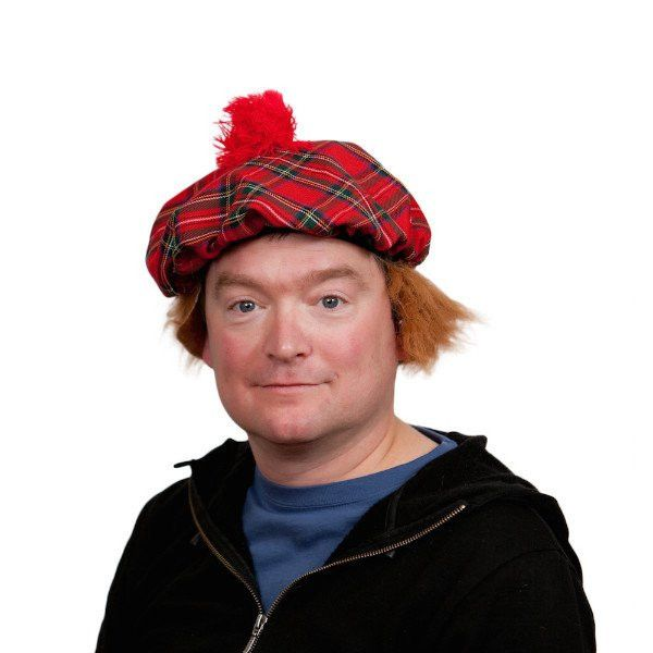 Scottish Hat with Brown Hair Wig