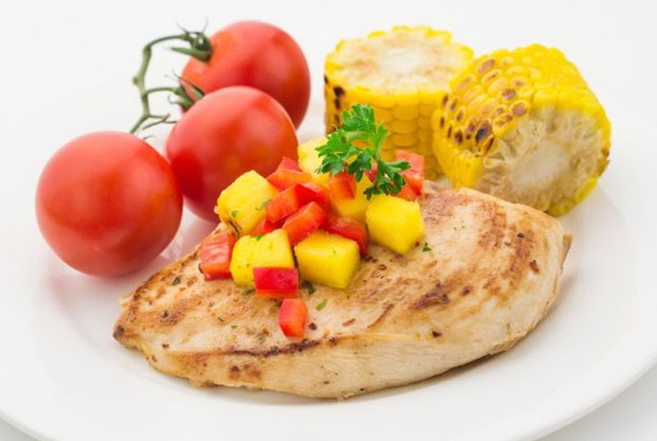 Coconut Chicken with mango salsa by Emily Maguire