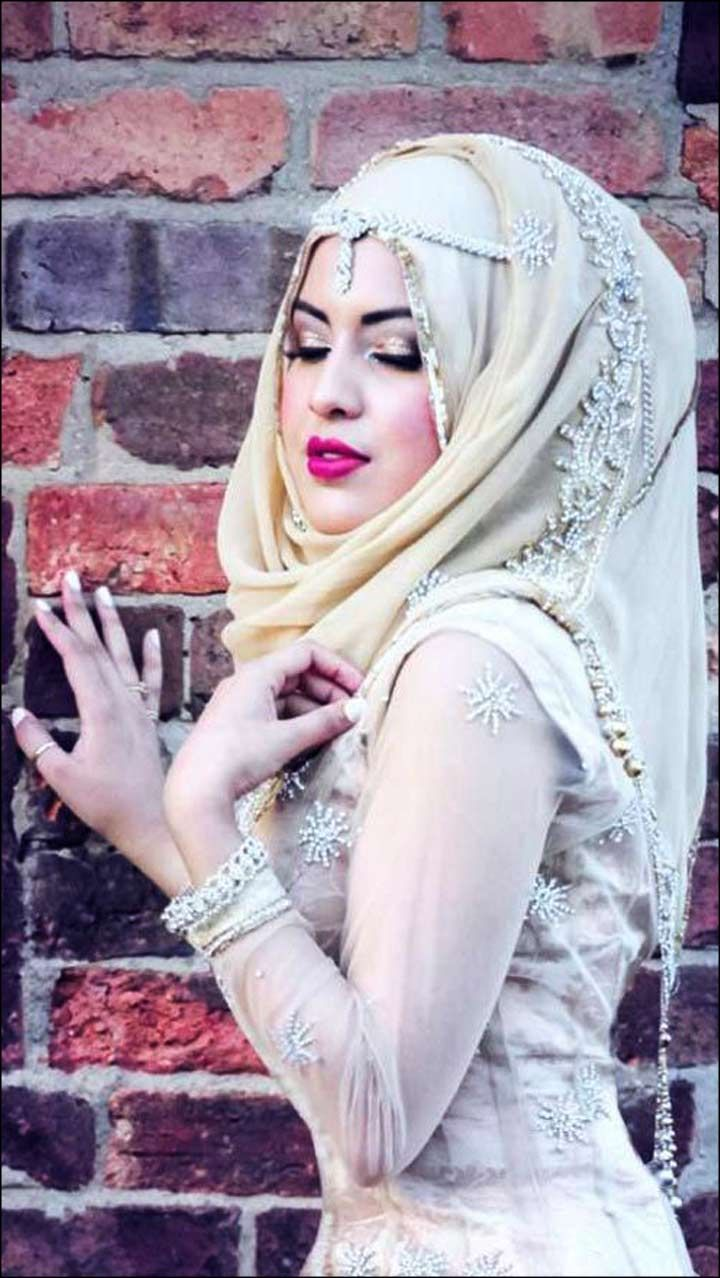 Cream Muslim Bridal Dress With Stone work