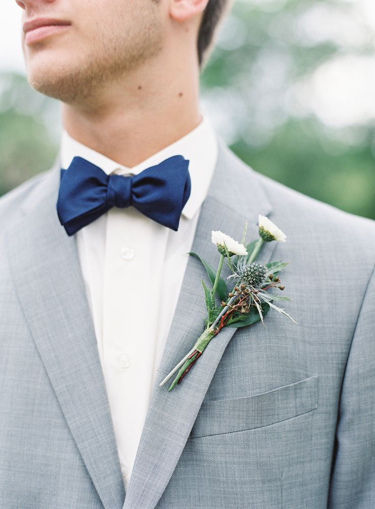 white bout, grey suit, navy bow tie / photo by melaniegabrielle.com