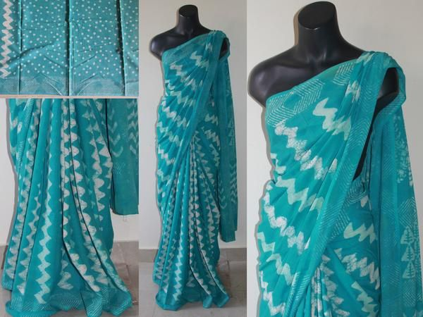 Bagru cotton saree