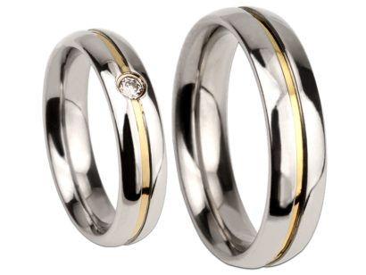 alianças de compromisso de prata com fio de ouro
