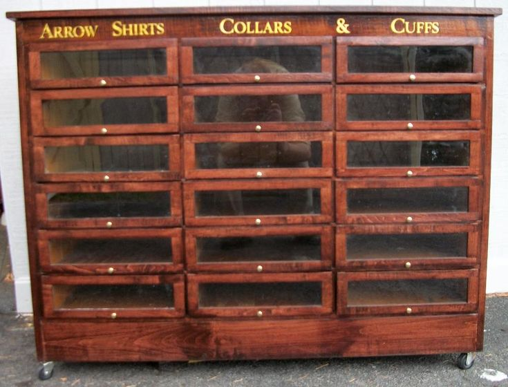 Arrow Shirts Collars Case with 18 drawers, BRASS LANTERN ANTIQUES