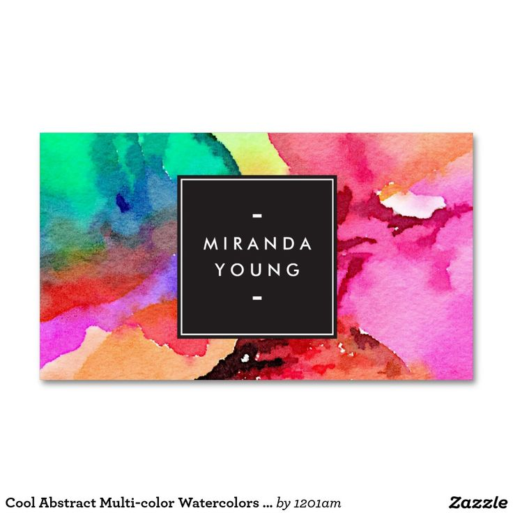 Cool Abstract Multi-color Watercolors Modern Double-Sided Standard Business Cards (Pack Of 100)