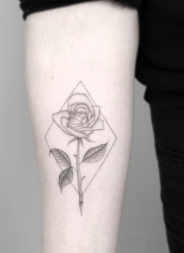 Minimalistic Rose Tattoo by Jakub Nowicz