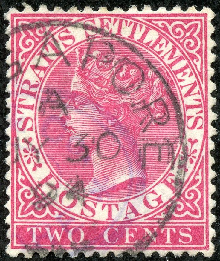 "Straits Settlements 1883 Scott 41 2c carmine rose ""Victoria"""