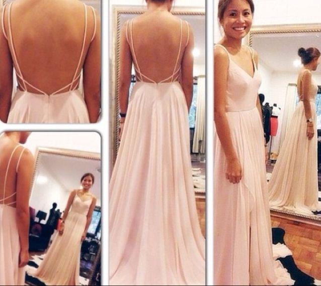 Sexy Chiffon Floor Length Spaghetti Straps V Neck Light Pink Open Back Prom Dress , Party Dresses, Dresses, Evening Dresses
