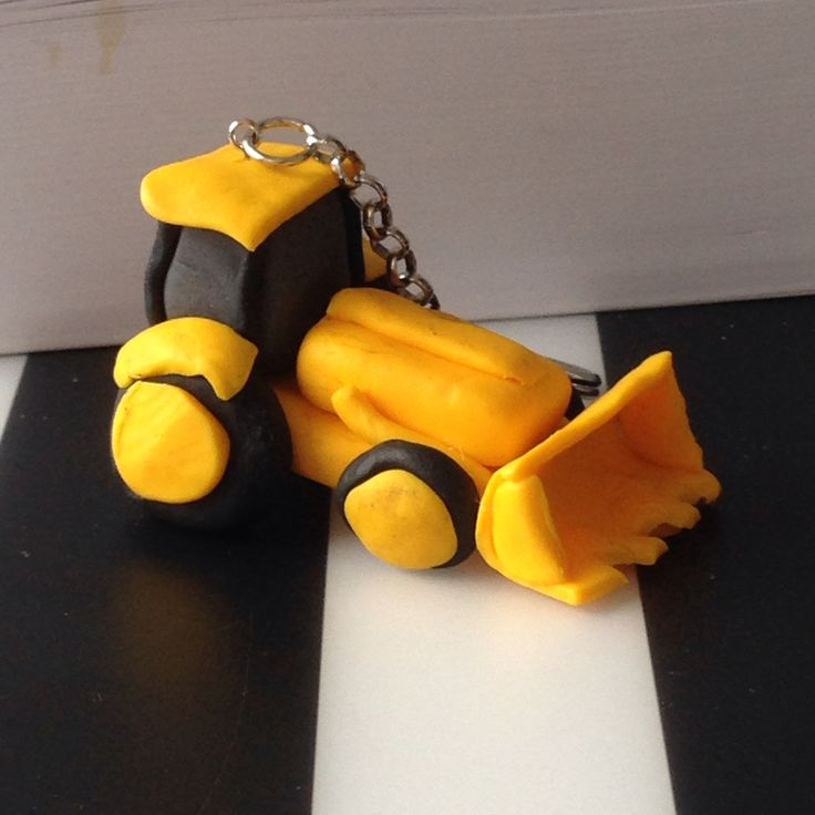 Handmade keyring excavator with fimo polymere clay