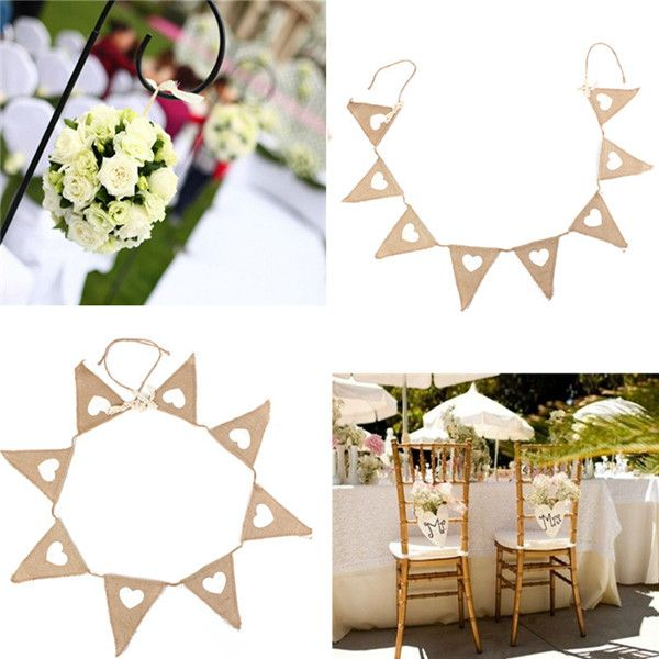 2016 Special Offer New Vintage Bunting Love Heart Hessian Burlap Fabric For Married Wedding Party Banner Decor