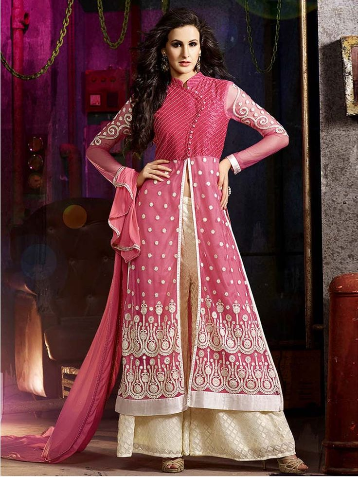 You will definitely love our dazzling collection.  Item Code: SLKE30872 http://www.bharatplaza.com/new-arrivals/palazzo-suits.html