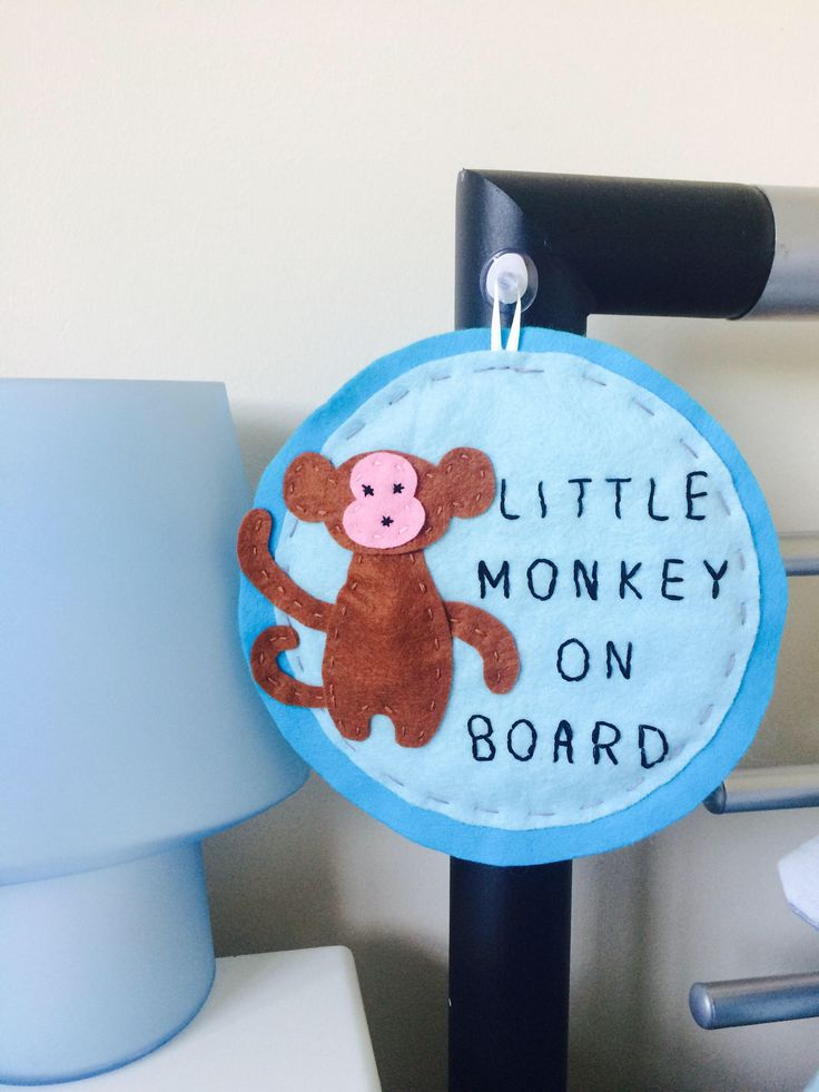 Little Monkeys beware! This little monkey on Board sign is perfect for when your little one isn't really a baby anymore. They grow up too fast don't they!!  #felt #monkey #babyonboard #kidsdecor