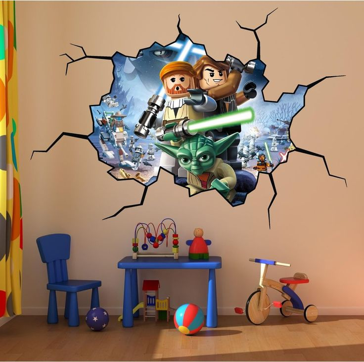 Lego Star Wars Cracked Wall Full Colour Print Wall Art Sticker Decal Mural  Kids