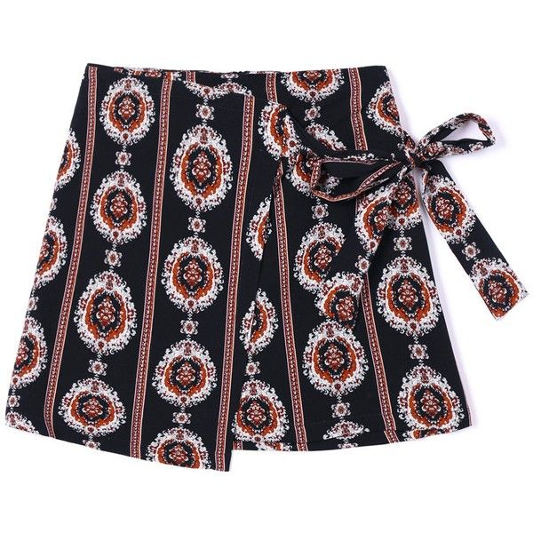 Asymmetric Tribal Print Wrap Skirt ($14) ❤ liked on Polyvore featuring skirts, tribal skirt, wrap skirt, asymmetrical wrap skirt, tribal print skirt and asymmetrical skirts