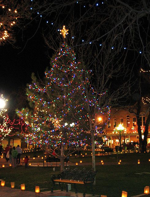 The Plaza at Santa Fe NM at holiday time