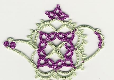 Square teapot - Tea is for Tatting  by Martha Ess